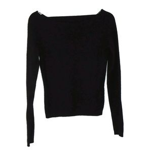 100% Cashmere Sweater Wide Scoop Neck Black Size S
